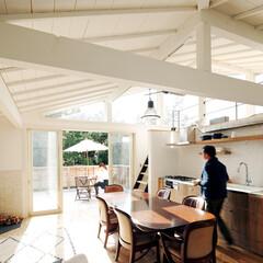 ラフな素材感とさわやかな色使い。海と緑に調和する家