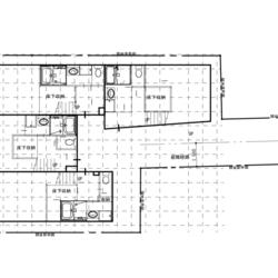 旗竿地のスキップフロアを用いたアパート建設