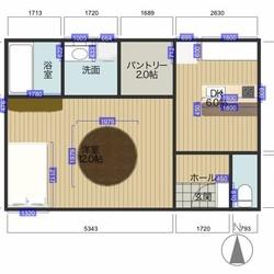15坪程のシンプル四角形の屋上付き平屋