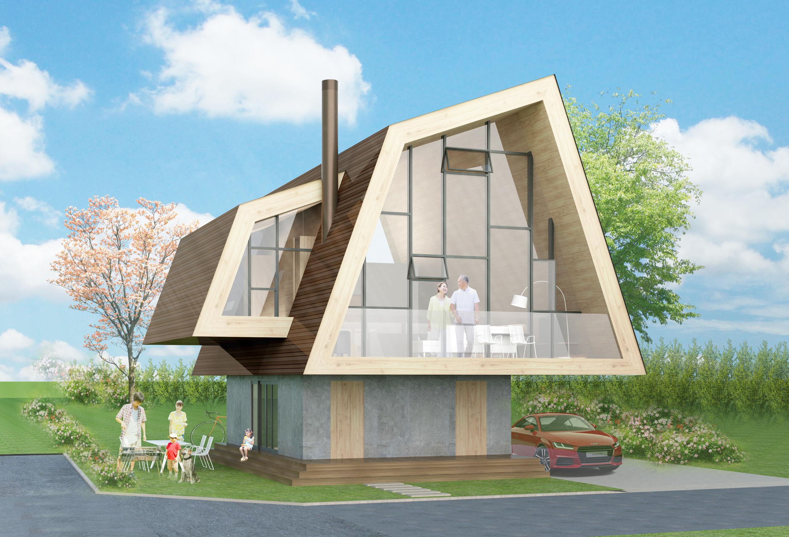 大きな傘の家の建築事例写真