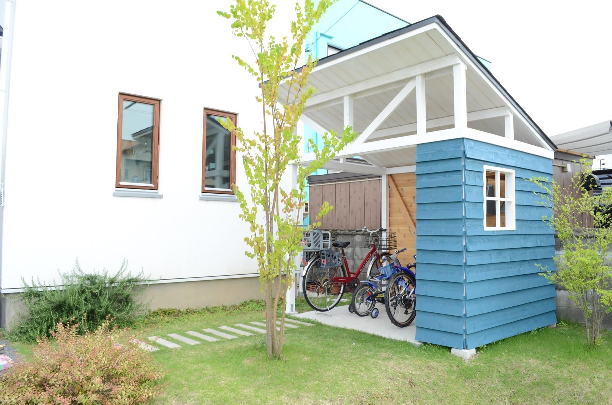 オシャレオリジナル自転車置き場の建築事例写真