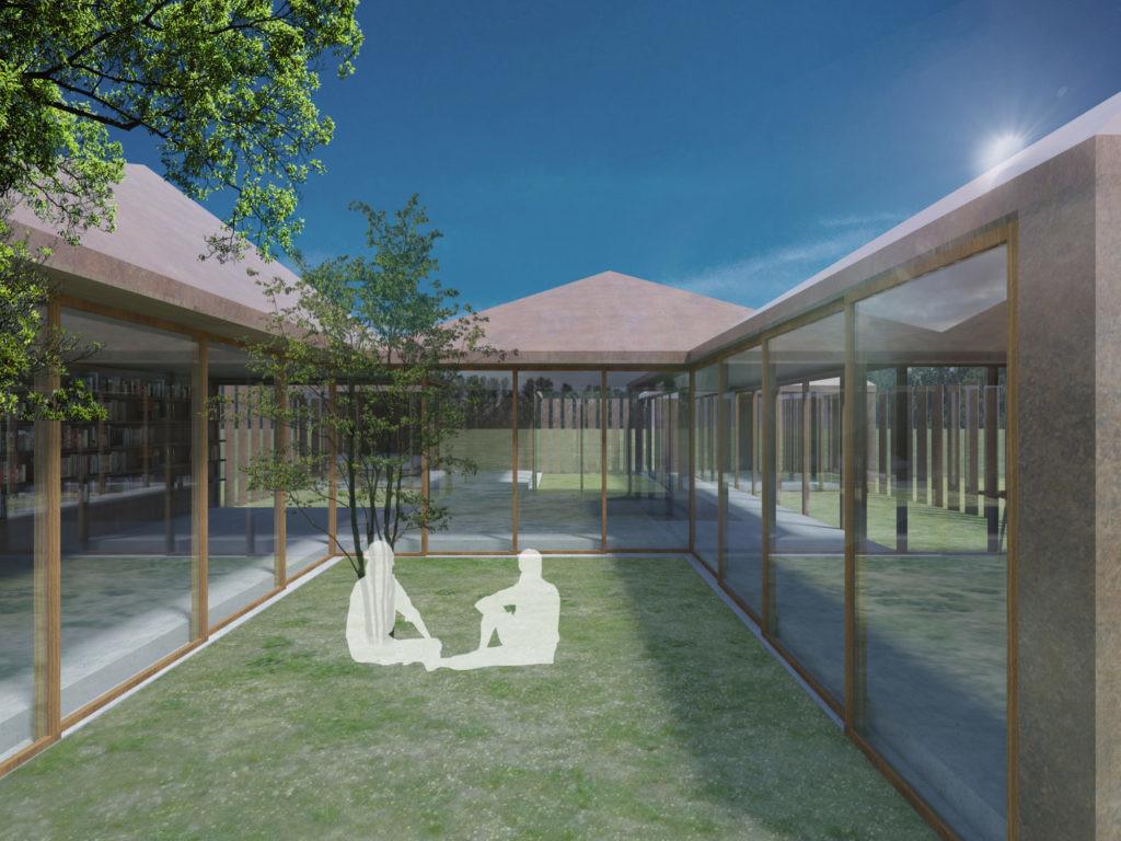 中庭のある広々平屋建ての建築事例写真