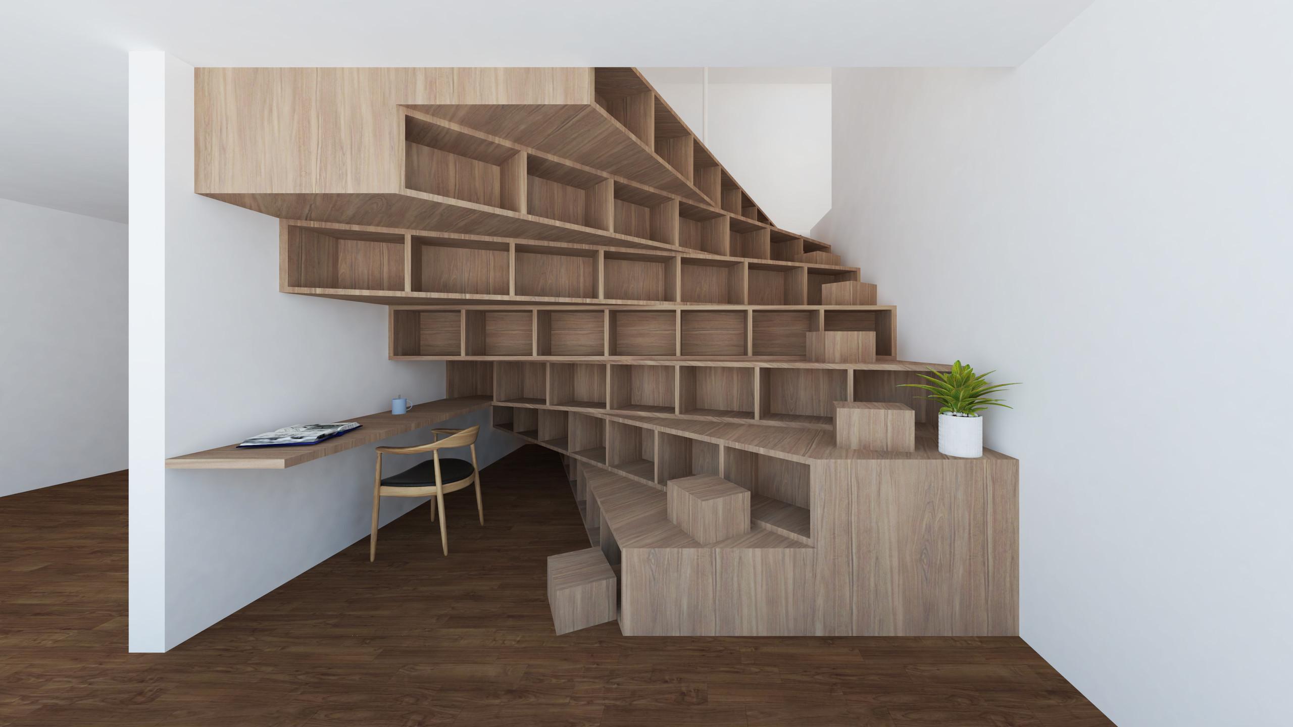 大きな家を回遊する階段のリノベの建築事例写真