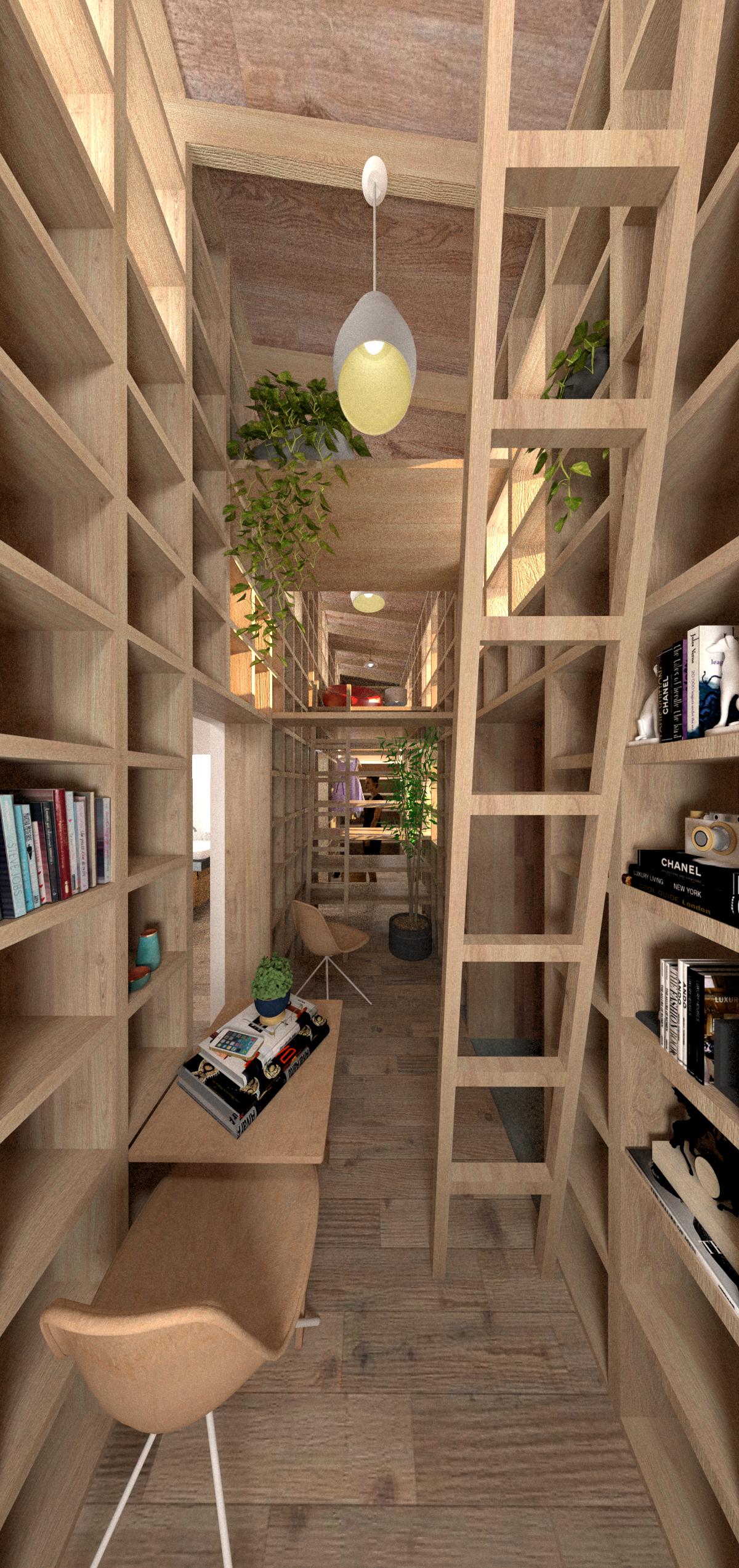 可動棚に住まうタイニーハウスの建築事例写真