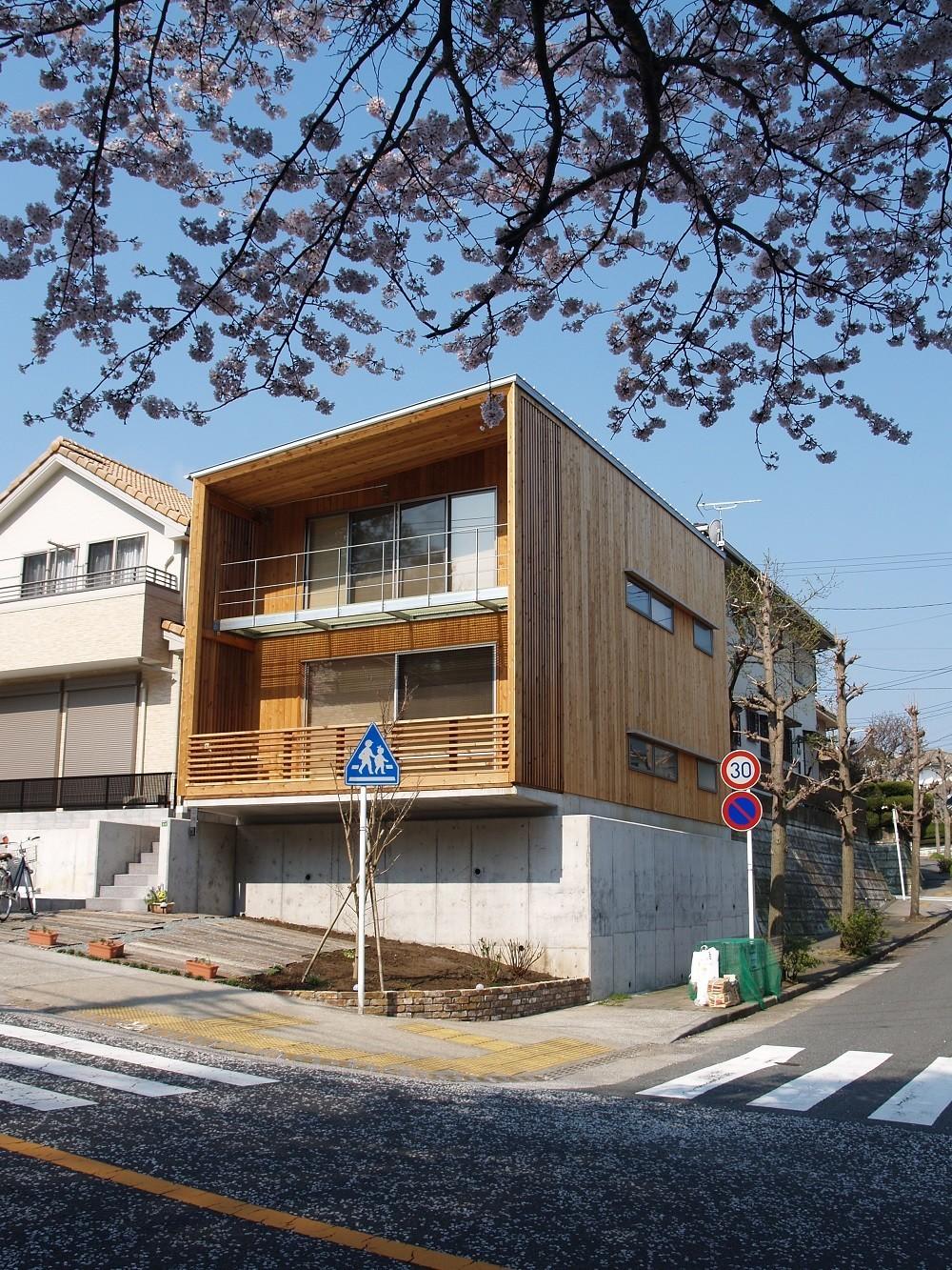 桜並木に面したテラス   紅花居~百日紅と桜並木に囲まれた木箱の家