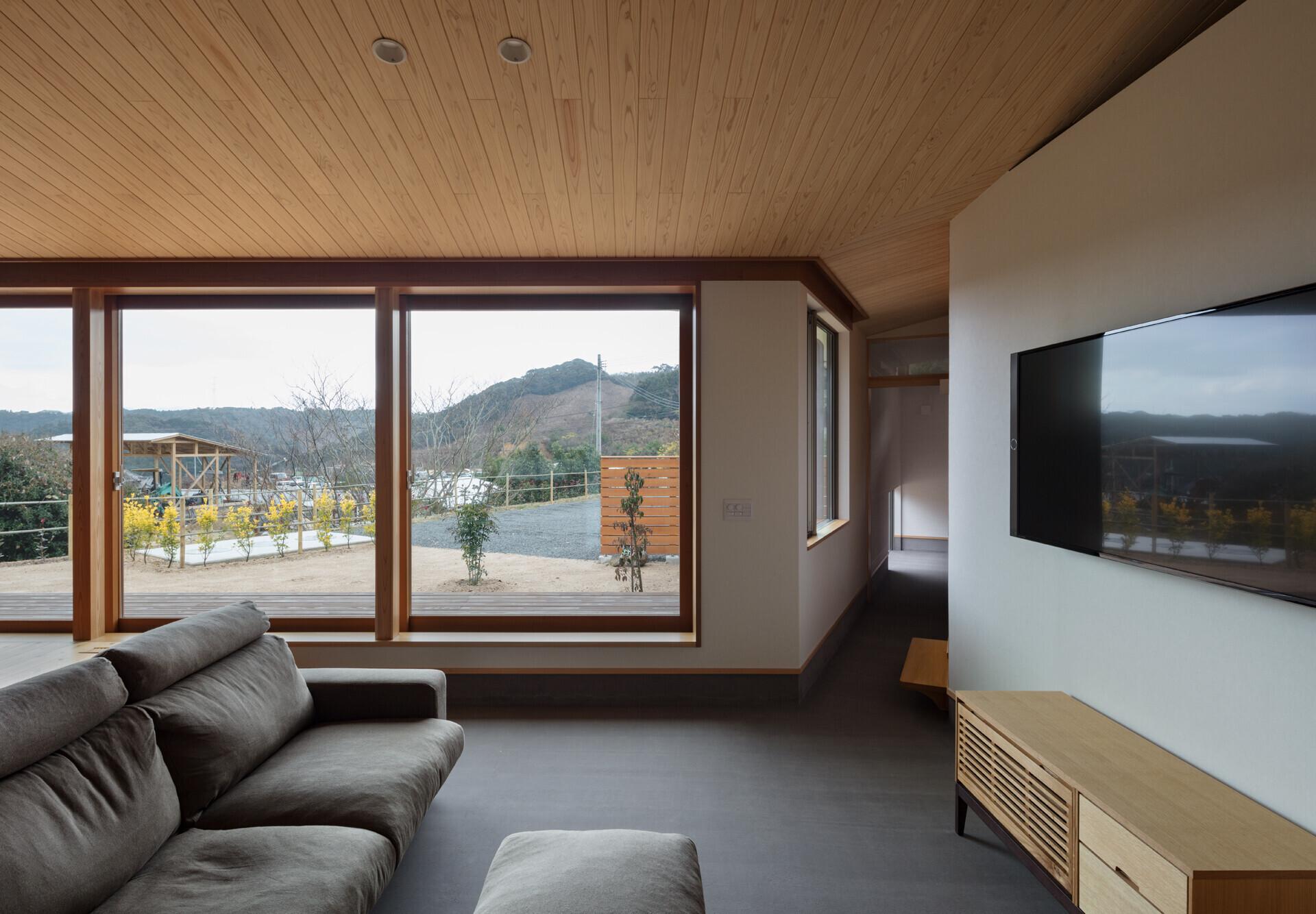 木造平屋、土間リビングのある家の建築事例写真