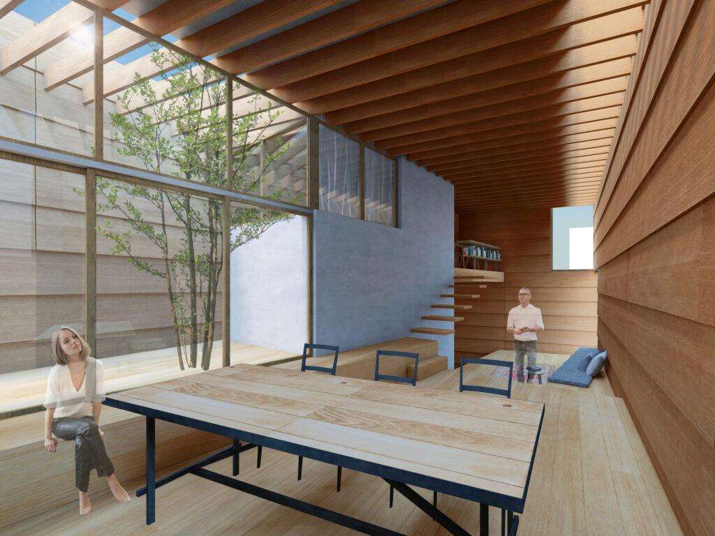 まるで外のようなローコスト木造住宅の建築事例写真