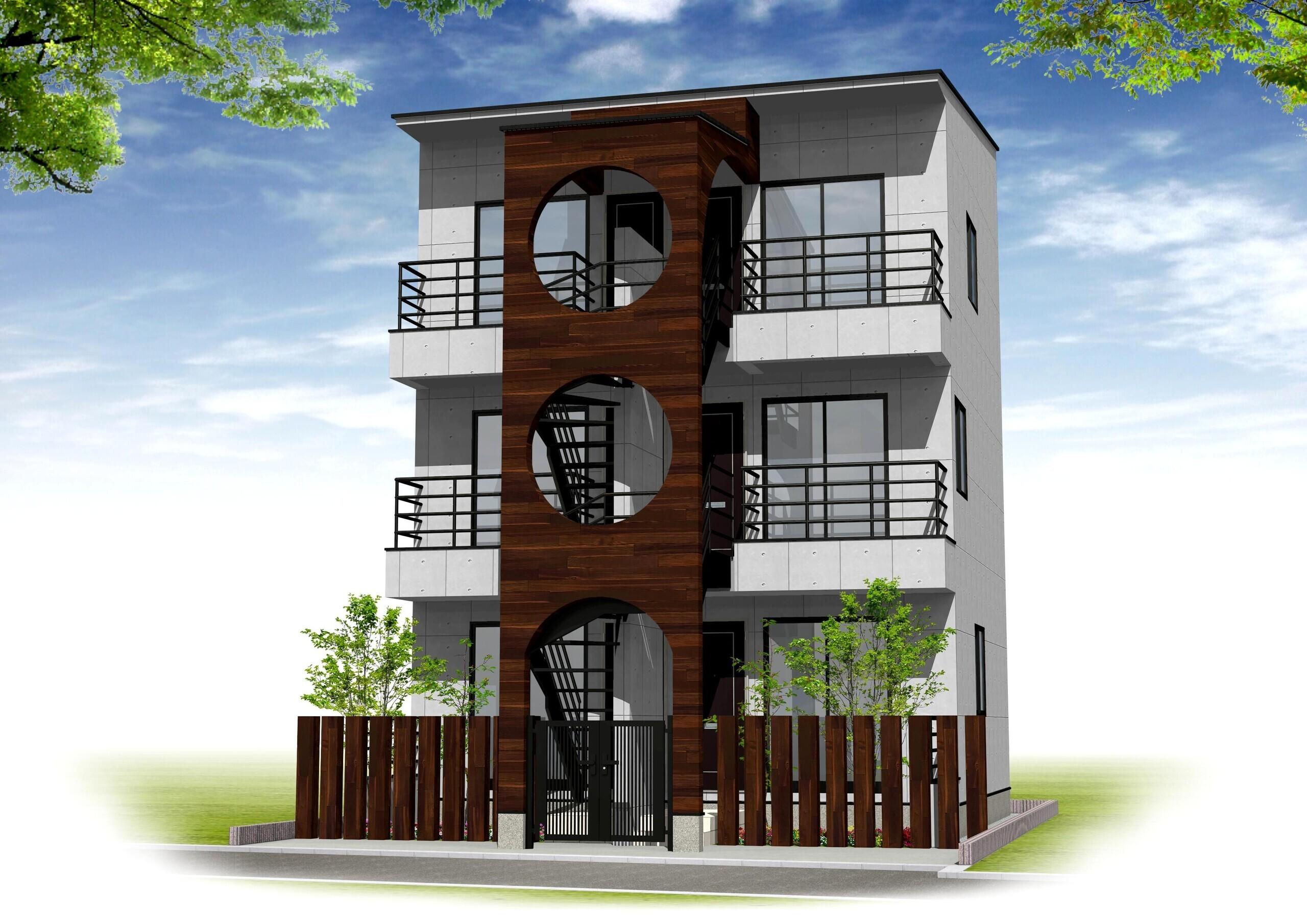 狭小地の木造3階アパートの建築事例写真