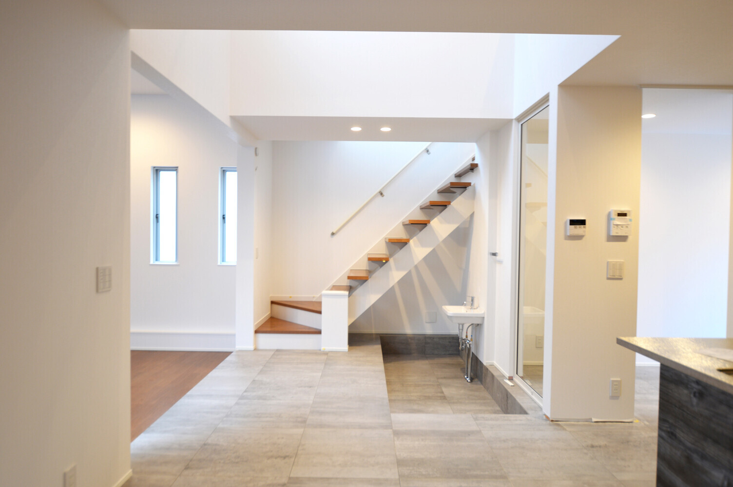 ペットと暮らす家(キズ防止、足洗いスペース)の建築事例写真