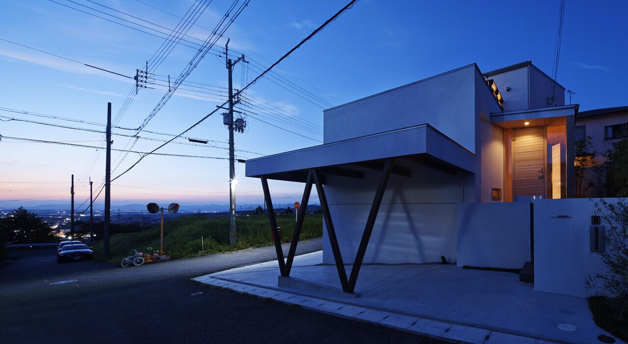 リビングの眺望が良い家の建築事例写真