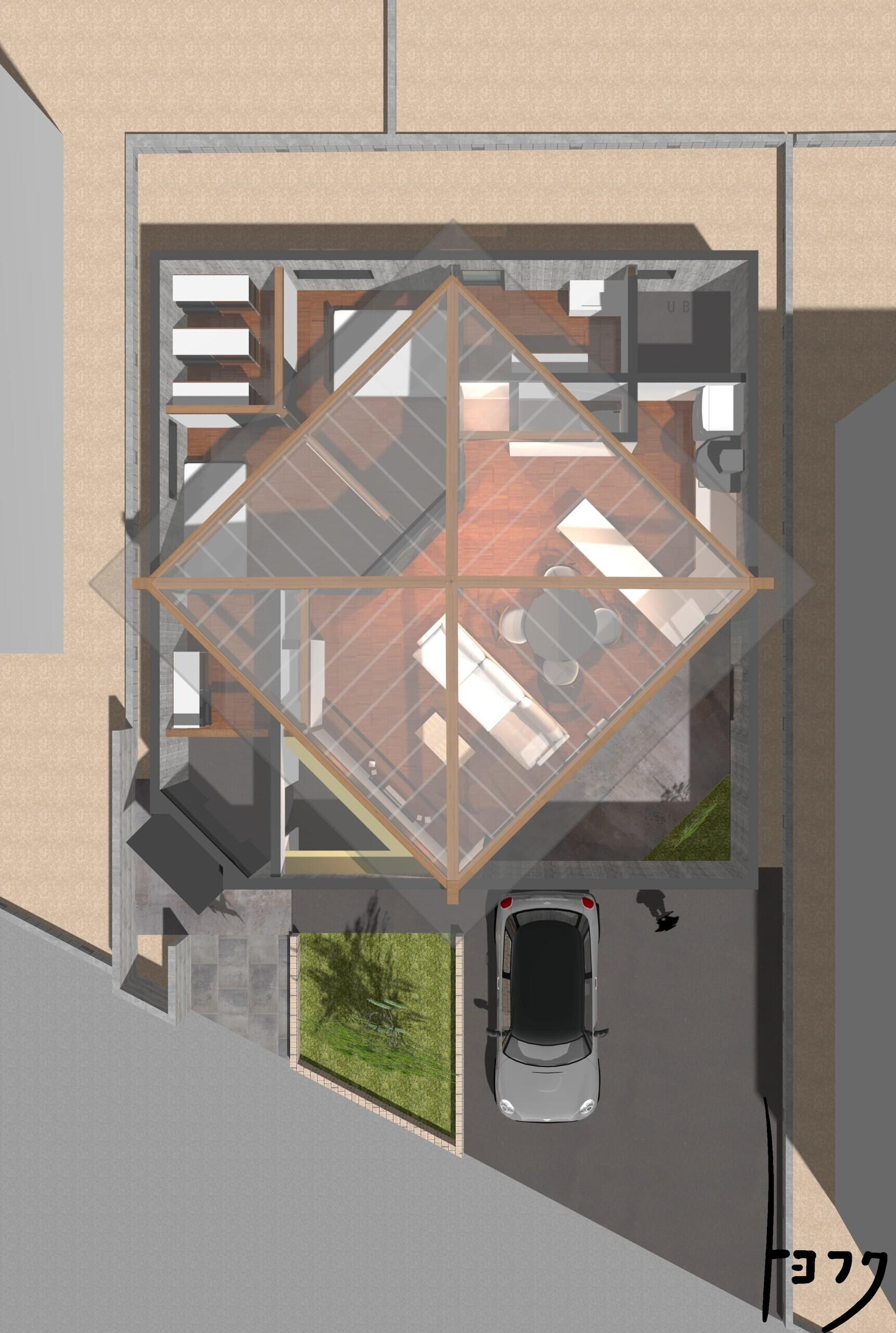 浮きヤネの住宅PJ#浮き屋根#45度回転軸#相合い傘の建築事例写真